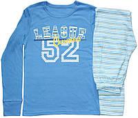 Пижама подростковая для мальчика, синяя с полосатыми брючками, рост 158 см, Фламинго