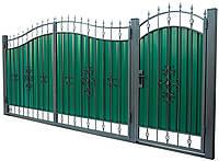 Кованные ворота с калиткой 3450х2150 (модель ВД-01), бесплатная доставка по Украине