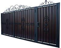Кованные ворота с калиткой 3450х1900 (модель В-02), бесплатная доставка по Украине