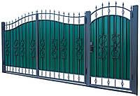 Кованные ворота с калиткой 3450х2150 (модель ВКГ-03), бесплатная доставка по Украине
