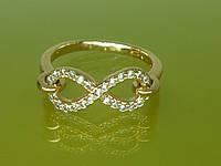 """Кольцо """"Бесконечность"""" с устойчивым  покрытием золота и цирконами."""