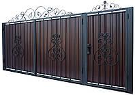 Кованные ворота с калиткой 3450х1900 (модель В-05), бесплатная доставка по Украине