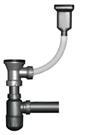 Сифон для мойки с переливом, с 70 мм выпуском и винтом из нерж стали 304, выход в канализацию Ø50 гофротруба