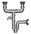 Двойной сифон для мойки с отводом для стиральной машины, с 70 мм выпуском, выход в канализацию Ø40 труба
