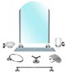 Набор аксессуаров в ванную комнату saphire, латунь (8 элементов включая зеркало)