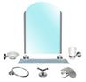 Набор аксессуаров в ванную комнату Saphire,цинк (7 элементов включая зеркало)