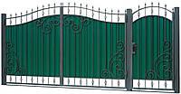 Кованные ворота с калиткой 3450х2000 (модель ВД-07), бесплатная доставка по Украине