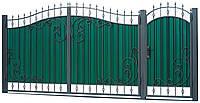 Кованные ворота с калиткой 3450х2150 (модель ВД-08), бесплатная доставка по Украине