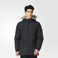 Зимняя куртка мужская с капюшоном Adidas Filled Fur-Trim AP9551 черная - 2016/2