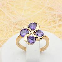 002-1751 - Замечательное позолоченное кольцо с фиолетовыми фианитами, 16 р.