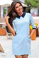 Модное офисное платье. Цвет голубой.