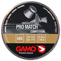 Пули Gamo Pro Match 0,49 г 500 шт 4,5 мм. Пули для пневматики. Плоскоголовые пули. Пули Gamo Pro Match