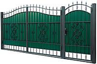 Кованные ворота с калиткой 3450х2150 (модель ВД-10), бесплатная доставка по Украине