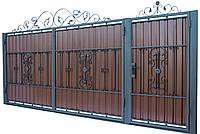 Кованные ворота с калиткой 3450х1900 (модель В-11), бесплатная доставка по Украине