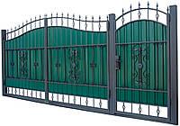 Кованные ворота с калиткой 3450х2150 (модель ВД-11), бесплатная доставка по Украине