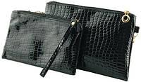 Красивый женский комплект клатч+косметичка из искусственной кожи Traum 7202-01, черный