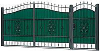 Кованные ворота с калиткой 3450х2150 (модель ВД-12), бесплатная доставка по Украине