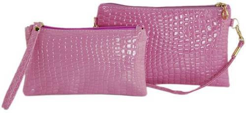 Качественный женский комплект клатч+косметичка из искусственной кожи Traum 7202-04, фиолетовый