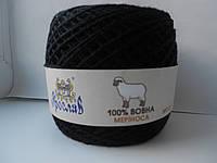 Пряжа 100% шерсть мериноса №500 черный