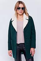 Стильное женское пальто из вареной шерсти на осень-весну с воротником из овчины