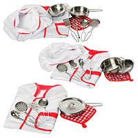 Набор детской посуды PY 555-60-61-62 с поварским халатом