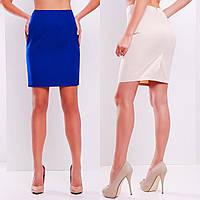 Классическая юбка из костюмной ткани длиной выше колена