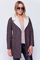 Женское короткое твидовое пальто с меховым вороником