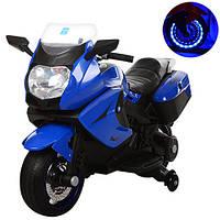 Детский Мотоцикл BMW М 3208 синий, заводится ключом, плавный старт, колеса мягкие EVA