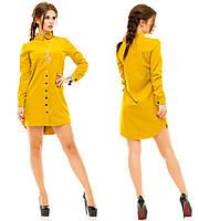 Женское короткое платье-рубашка с длинным рукавом