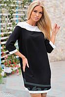 Короткое платье трапеция. Цвет черный.