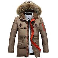 Мужская зимняя удлинённая куртка пуховик JEEP в наличии, бежевый