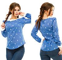 Женская блузка из натуральной ткани с бантиком