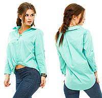 Женская ассиметричная коттоновая блузка