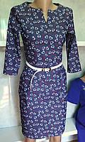 Строгое платье из катона с поясом