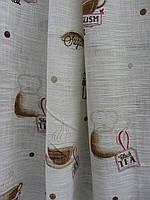 Тюль-штора лен кухня на белом и  бежевом фоне