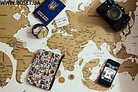 Карта мира для путешественников -  Тревел Скрэтч Мап Голд (на русском языке)