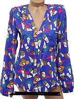 Яркие блузки с принтами 42, 44, 46, 48