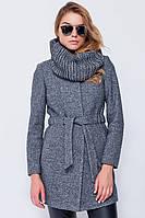 Женское осеннее пальто из вареной шерсти от производителя + шарф-труба