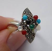 Серебряное кольцо с бирюзой, ониксами, халцедонами, марказитами