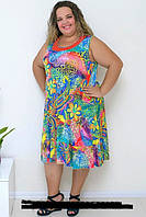 Яркое цветастое платье на лето - 54, 56, 58