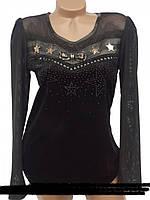 Черный женский пуловер из новой весенней коллекции