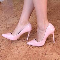 Туфли женские лодочки на шпильке Selesta пудра лак