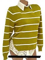 Теплый женский свитер с блузой  р. 44