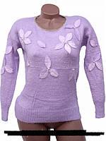Красивый пушистый свитер с цветками  модная новин