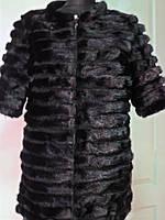 Полушубок из поперечной норки с замшевыми вставками длина-65см. на замочке ворот-шанель  р.44 46 48 50