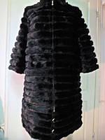 Полушубок из норки канадской съемные рукава и низ поперечка длина 70см-90см  стойка воротник 44р 46р 48р 50р