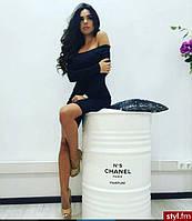 Теплое черное платье со спущенными плечами купить в интернет-магазине не дорого Украина