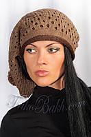Женский вязаный берет шапка с помпоном