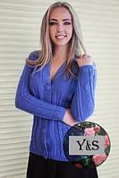 Женская вязаная кофта на пуговицах в расцветках