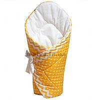 """Зимний конверт-одеяло для новорожденного """"Солнечные горошки"""""""